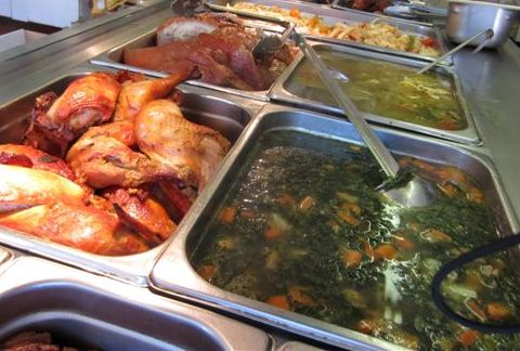 Complete hot food and deli counter